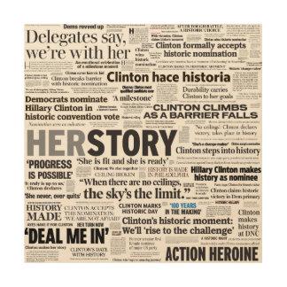 Schlagzeilen-Collagen-Holz-Plakat Hillary 2016 Holzwanddeko