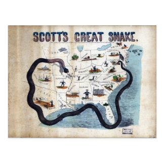 Schlangeanaconda-Plan Winfields Scotts großer Postkarte