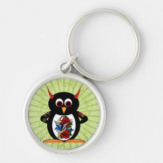 Schlechte Pinguin-Tätowierung Silberfarbener Runder Schlüsselanhänger