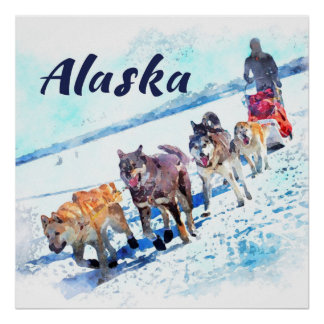 Schlitten (AK)hundeteam Alaskas A - Reise-Plakat Poster