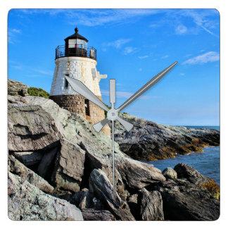 Schloss-Hügel-Leuchtturm, Rhode Island Quadratische Wanduhr