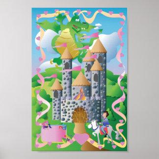 Schloss mit Drachen, Prinzessin u. Prinzen Poster
