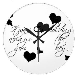 Schlüssel-u. Herz-Uhr Große Wanduhr