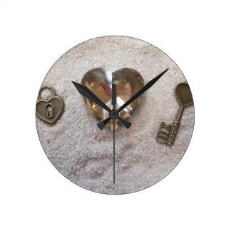 Schlüssel zu meinem Herzen Runde Wanduhr