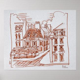 Schmale Straßen von Heilig-Omer, Frankreich Poster