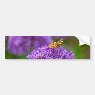 Schmetterling auf der Lauch-Blume Autoaufkleber