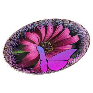 Schmetterling auf Gänseblümchen Porzellanteller
