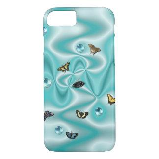 Schmetterling auf grüner Seide mit Perlen iPhone 8/7 Hülle