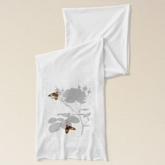 Schmetterling, Rosen, Grau und Weiß Schal