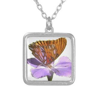 Schmetterling und Blume Versilberte Kette