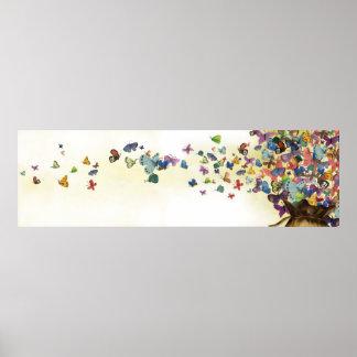 Schmetterlinge aus der Tasche heraus Poster