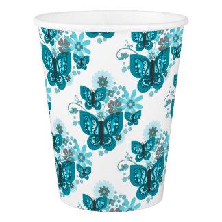 Schmetterlinge u. Blumen-(blaue) Papierschale Pappbecher