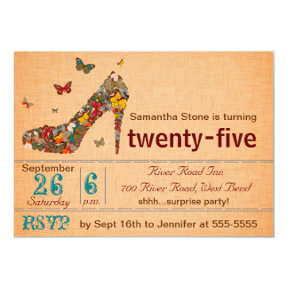 Schmetterlings-Absatz-25. Geburtstag laden ein 12,7 X 17,8 Cm Einladungskarte