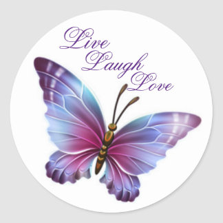 "Schmetterlings-Aufkleber/Lila ""leben Lachen-Liebe Runder Aufkleber"