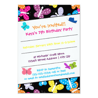 Schmetterlings-Geburtstags-Party - Einladung 3x5