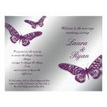 Schmetterlings-Hochzeits-Programm-Flyer-Silber-lil