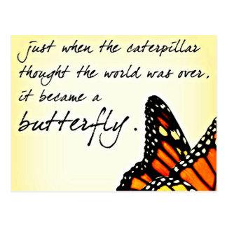 Schmetterlings-Leben-Kampf-inspirierend Zitate Postkarte