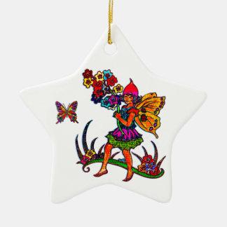 Schmetterlings-Mädchen-Blumenschmetterlinge Keramik Stern-Ornament