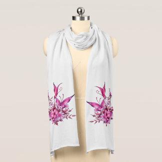 Schmetterlings-rosa BlumenBlumen auf Weiß 3 Schal