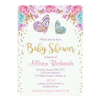 Schmetterlingsbabyduscheneinladung, rosa lila Gold Karte