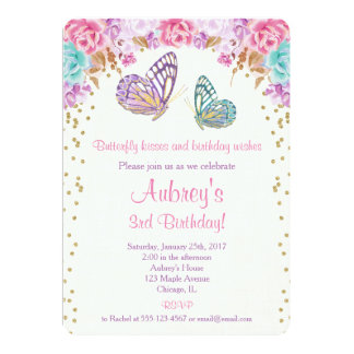Schmetterlingsgeburtstagseinladung, rosa lila Gold Karte
