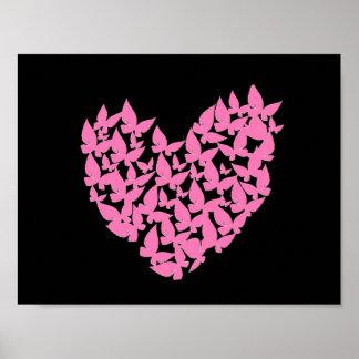 Schmetterlingsherzrosa-Liebe Poster