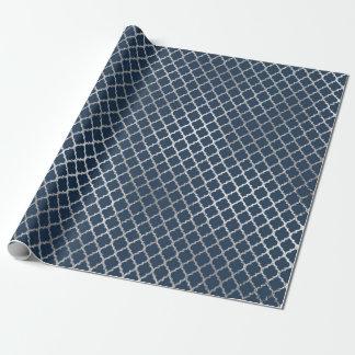 Schmuck Quatrefoil Kunst-Deko-blaues Marine-Silber Geschenkpapier