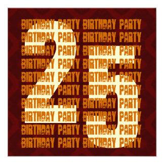 Schmutz-25 Geburtstags-Gold und Brown W1053 Personalisierte Einladungskarten