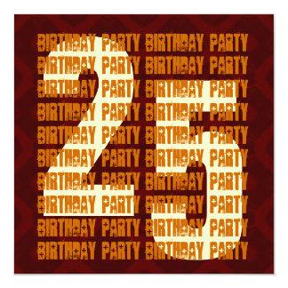 Schmutz-25. Geburtstags-Gold und Brown W1053 Quadratische 13,3 Cm Einladungskarte