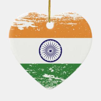 Schmutz-Indien-Flagge Keramik Herz-Ornament