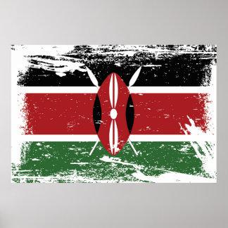 Schmutz-Kenia-Flagge Poster