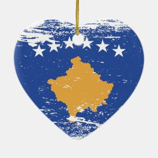 Schmutz-Kosovo-Flagge Keramik Ornament