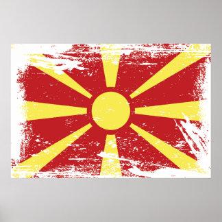 Schmutz-Mazedonien-Flagge Poster