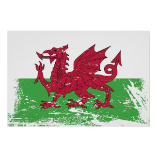 Schmutz-Wales-Flagge Poster