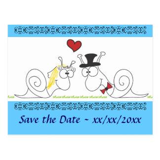 Schnecken in der Liebe - Save the Date Postkarte