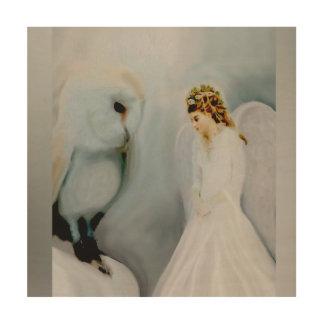 Schnee-Engel und weiße Eule Holzdruck