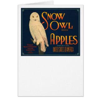 Schnee-Eulen-Marken-Äpfel Karte