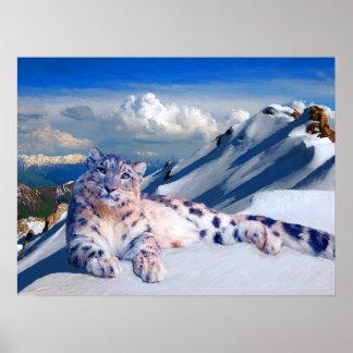 Schnee-Leopard auf dem Dach der Welt archivalisch Poster