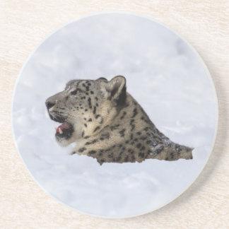 Schnee-Leopard begraben im Schnee Getränkeuntersetzer