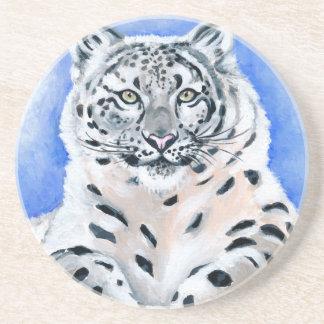 Schnee-Leopard-Kunst Getränkeuntersetzer