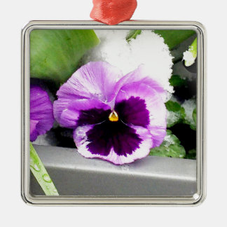Schnee Pansy Silbernes Ornament