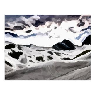 schneebedeckte Malerei des bewölkten Himmels Postkarte