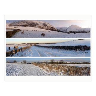 Schneebedeckte Panoramas des Höchstbezirkes Postkarte
