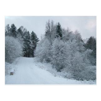 schneebedeckte Straße Estland der Winterfreude Postkarte