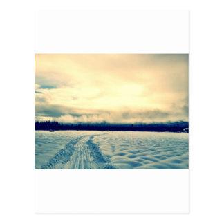 schneebedeckte Straße Postkarte