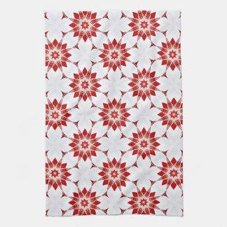 Schneeflocke-Blumen im Rot Geschirrtuch