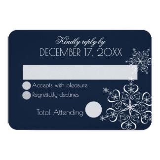 Schneeflocke-Marine-Blau-Winter-Hochzeits-Antwort 8,9 X 12,7 Cm Einladungskarte