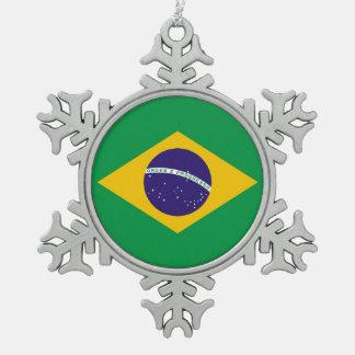 Schneeflocke-Verzierung mit Brasilien-Flagge Schneeflocken Zinn-Ornament