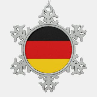 Schneeflocke-Verzierung mit Deutschland-Flagge Schneeflocken Zinn-Ornament