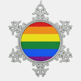 Schneeflocke-Verzierung mit LGBT Flagge Schneeflocken Zinn-Ornament